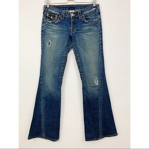 True Religion Joey Flare Distressed Jeans Size 29